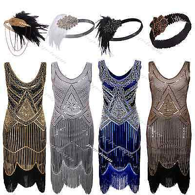1920s Flapper Costume Gatsby Charleston Fancy Beaded Sequin Fringed Party Dress