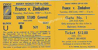 FRANCE v ZIMBABWE RUGBY WORLD CUP 1987 TICKET