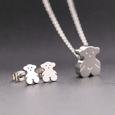Cute Bear Necklace Gold/Silver Stainless Steel Pendant Women's Gift Jewelry Sets