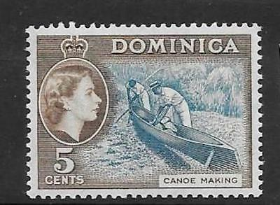 DOMINICA SG147 1957 5c LIGHT BLUE & SEPIA BROWN MTD MINT