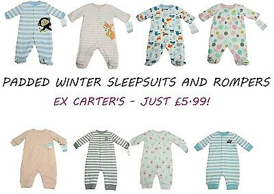Baby Boys Girls Babygrow Sleepsuit Romper Warm Winter Padded Xtra Thick Playsuit
