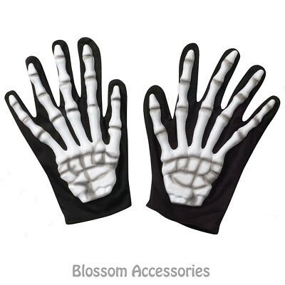 A933 Adult Skeleton Hands Halloween Ghost Reaper Ghoul Costume Short Gloves