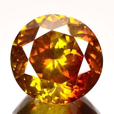 11.40 Cts Natural Sunset Orange Sphalerite Round Cut Spain Gem (Video Avl)