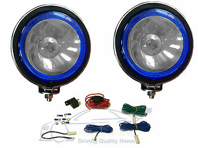 """2 x 5"""" CLEAR LENS, BLUE ANGEL EYES. TWIN SPOT LAMPS LIGHT + Wiring Kit for Car"""