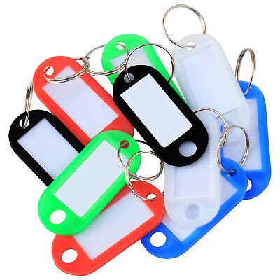 TRIXES Pack of 50 Plastic Colour Key Tags with Paper Inserts Split Rings