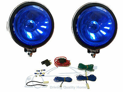 """2 X BLUE Lens, 5"""" Chrome / Silver Twin Spot Lamps Lights  for Car + Wiring Kit"""