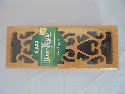 New Home Details Wooden Floor Register Duct Size 4 x 12 inches NIP
