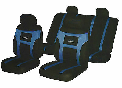 BLUE / BLACK, SUPER SPEED LOGO, Front And Rear, Car Full Seat Covers Set 8 Piece