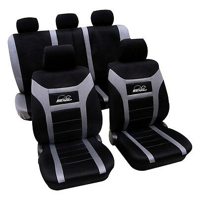 GREY / BLACK, SUPER SPEED LOGO, Front And Rear, Car Full Seat Covers Set 8 Piece