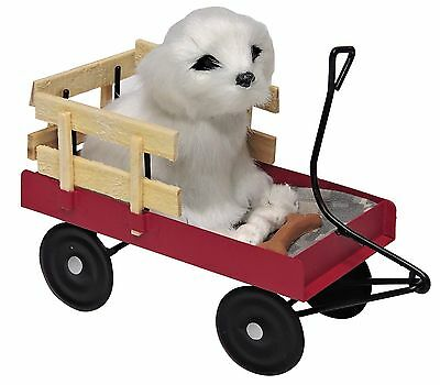 Byers Choice Adorable White Dog/Puppy in Red Wagon Soft & Furry So Cute! New