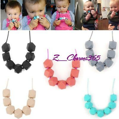 Baby Teething Necklace Silicone Teether Polygon Chewing  Beads Chain Necklace Z