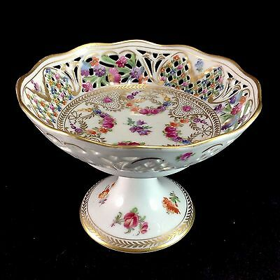 """Schumann Dresden Bavaria Reticulated Pierced Compote 4.25"""" Vintage Flowers Roses"""