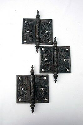 "Antique Victorian Butt Hinges 3-1/2"" x 4"" Steeple Finial Cast Iron AH09051605"