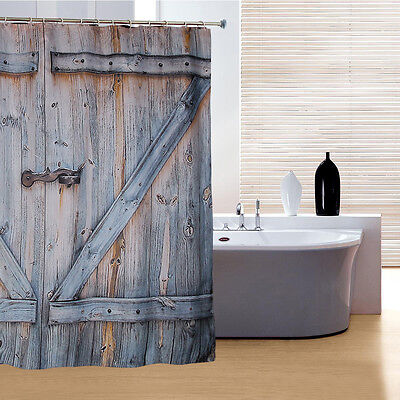 Creative Polyester Shower Curtain Wood Door Digital Printing Shower Curtain