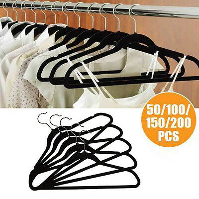 50 100 150 200 PCS Non Slip Coat Clothes Velvet Hangers Ultra Slim Thin
