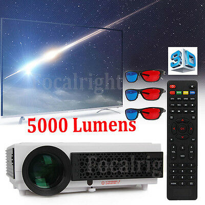 5000 Lumen 1080P LED96+ HDMI HD Projector LED 3D Home Theater Cinema Multiplayer