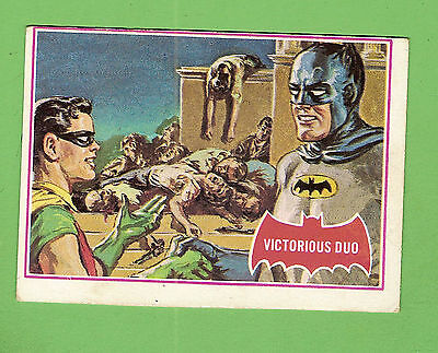 Scanlens 1966 Batman Red Bat Card #28A  Victorious Duo