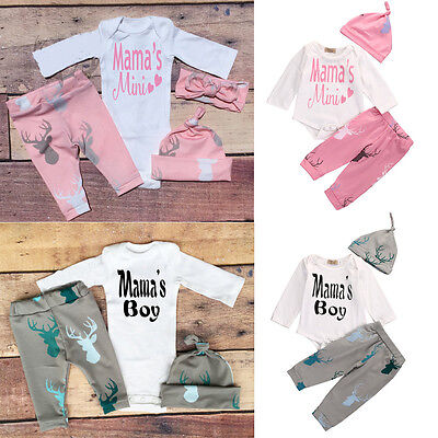 Newborn Infant Baby Boy Girl Mama Romper Tops Deer Pants Hat Outfit Set Clothes