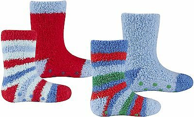 Tick Tock Baby Boys 2 Pack Cosy Socks with Grippers