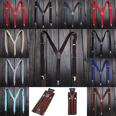 Adjustable Braces Unisex Mens Womens Trouser Elastic Y-Back Suspenders Clipon Uk