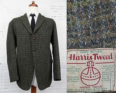 Vintage 1960s Dark Check 3 Button Thick Harris Tweed Jacket -44S- BY68