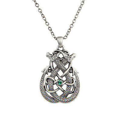 Celtic Twin Dragon Endless Knot Pendant Necklace Jewelry 10046