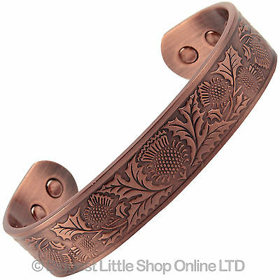 New COPPER MAGNETIC Bracelet THISTLE DESIGN 6 Magnets Health Rare Earth NdFeB