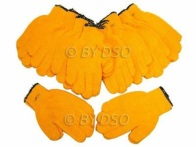 BARGAIN 10 x Trade Quality Criss Cross Grip Work Gardening Gloves UK STOCK