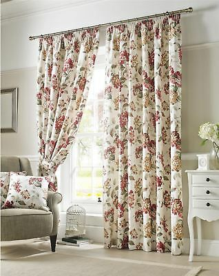 Flowers Floral Red Green Cream Lined Pencil Pleat Curtains *9 Sizes*