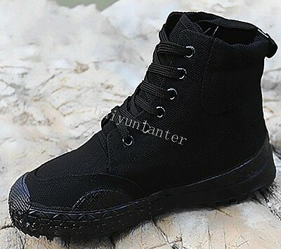 Men Lace Up High To Trainning Military Boots Canvas Outdoor Work Ankle Boots Sz