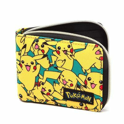 Official Mens Boys Pokemon All Over Pikachu Character Zip Wallet - New