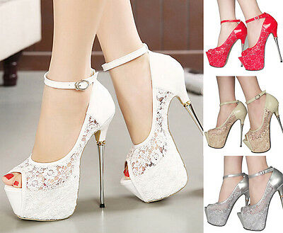 Grace Hollow Lace Ankle Strappy High Heel Party Shoes Wedding Platform Pumps