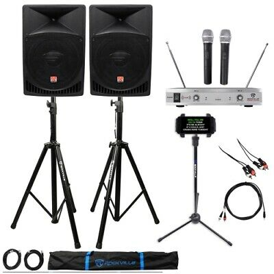 "Rockville Pro Dual 15"" ipad/iphone/Android/Laptop Powered Karaoke Machine/System"