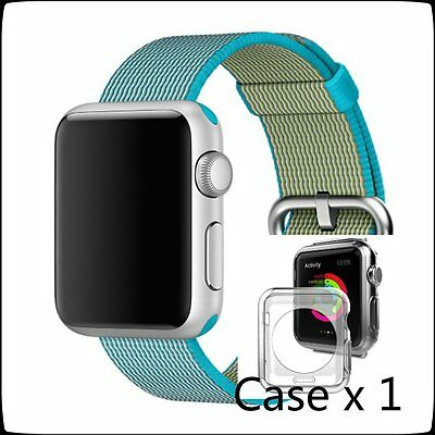 Light Blue Woven Nylon Wrist Band Strap Bracelet For Apple Watch iwatch  42mm