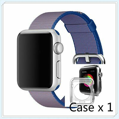 Blue Woven Nylon Wrist Band Strap Bracelet For Apple Watch iwatch  38mm
