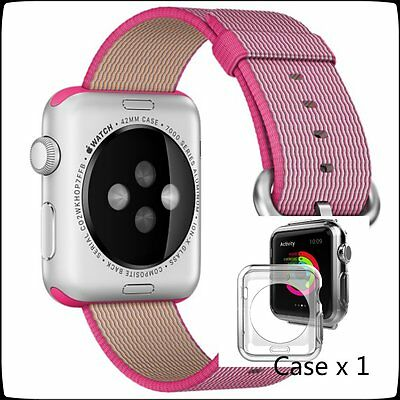 Pink Woven Nylon Wrist Band Strap Bracelet For Apple Watch iwatch  38mm