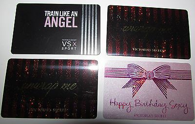 B4 used EMPTY Victoria's Secret Sparkly cute 4x GIFT CARDS