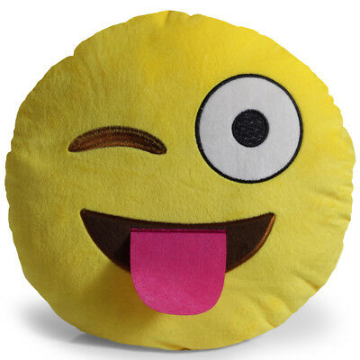 Emoji Tongue Out Eye Wink Pillow Plush Round Cushion Stuffed Toy Doll for Kids
