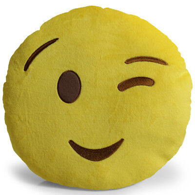 Emoji Wink Pillow Plush Round Cushion Stuffed Toy Doll for Kids Bed Chair Seat