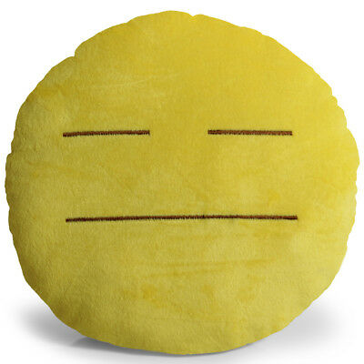 Emoji Expressionless Pillow Plush Round Cushion Stuffed Toy Doll for Kids Bed