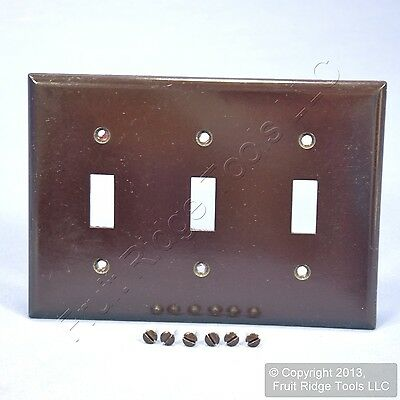 New Cooper Brown 3-Gang Toggle Switch Plastic Cover Wall Plate Switchplate 2141B
