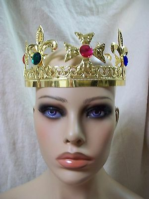 Fancy Gold Jewel Cross Fleur De Lis Crown Renaissance Medieval Royal King Queen