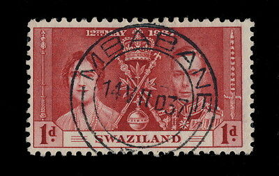 "SWAZILAND - 1937 - ""MBABANE"" DOUBLE CIRCLE DATE STAMP ON N°25 1d CORONATION"