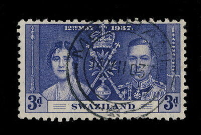 "SWAZILAND - 1937 - ""MBABANE"" DOUBLE CIRCLE DATE STAMP ON N°27 3d CORONATION"