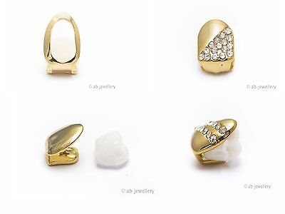 Grillz 24K Gold Plated Tooth Caps Clips Single and Double Hip Hop Bling Gangsta