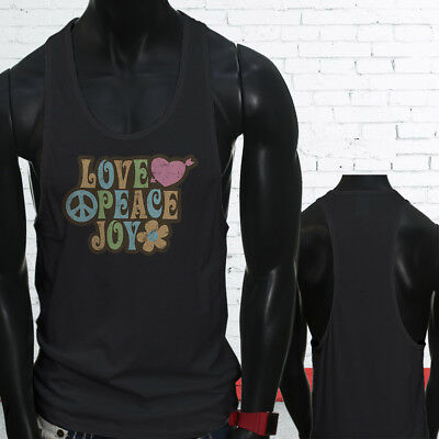 Love Peace 70s Grovy Show Hippie Hipster Retro Mens Black Sports Tank Top
