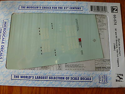 Microscale Decal N #60-574  for:  NS -- Hoppers, 50 & 60' Box Cars 1988