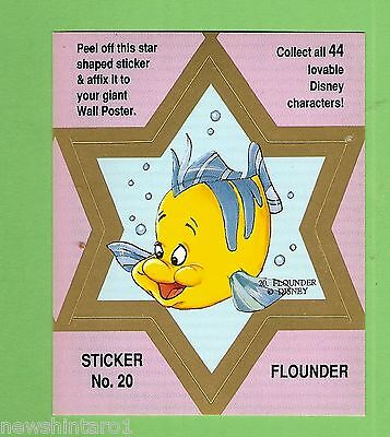 #d544. Disney Star  Sticker Card #20  Flounder, Pink