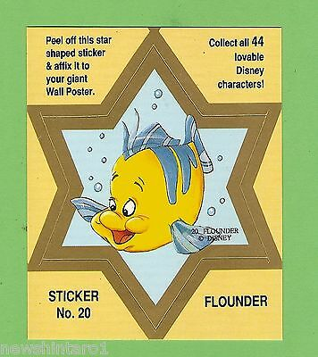 #d544. Disney Star  Sticker Card #20  Flounder, Yellow
