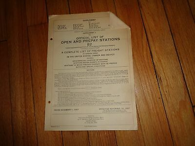 Official List Open and Prepay Stations Freight Stations 1967 Railroad Train